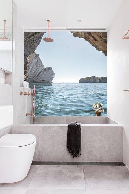 Carta da parati in bagno 5 motivi per installarla senza - Carta da parati lavabile per bagno ...
