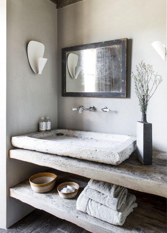 Bagno rustico come realizzarne uno da copertina - Arredo bagno in pietra ...