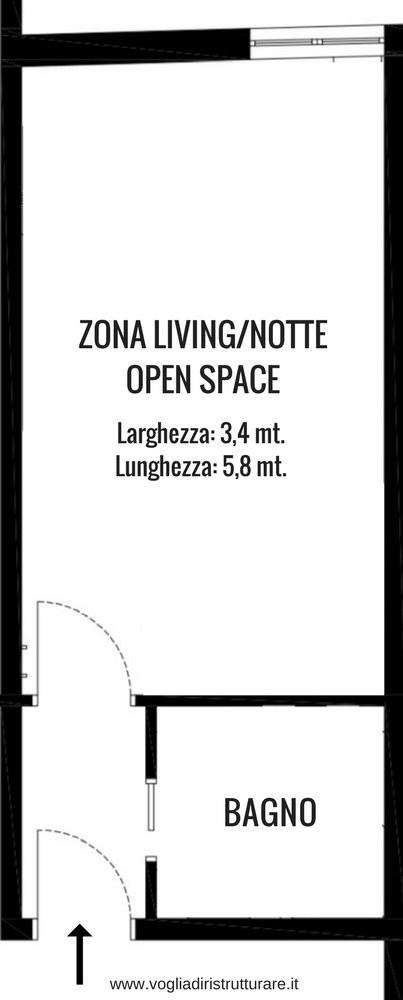 Come arredare un monolocale stretto e lungo progetto for Arredare un ingresso lungo e stretto