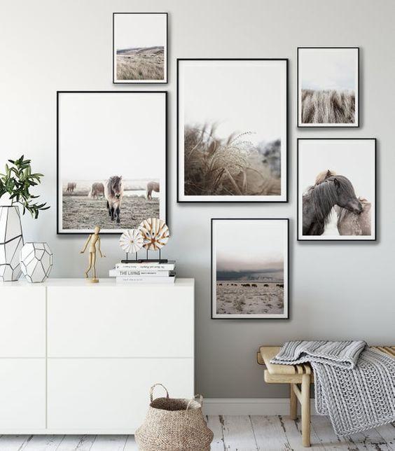 Composizione di quadri con mobiletto