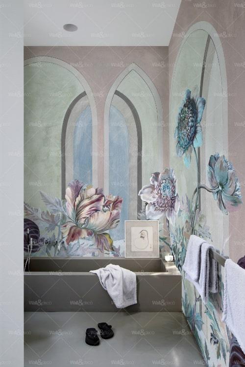 Carta da parati bagno floreale