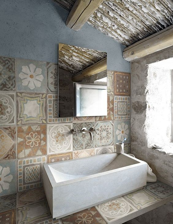 rivestimento bagno rustico