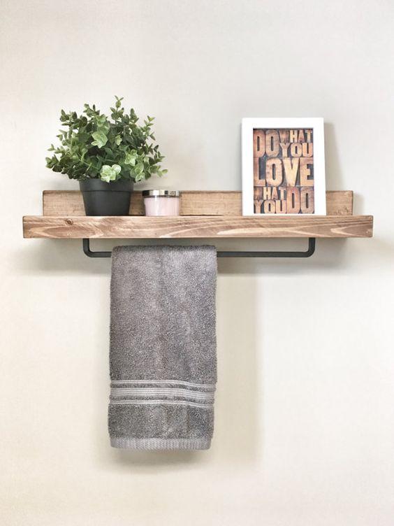 mensola in legno bagno