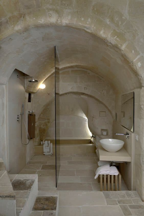 bagno rustico in pietra