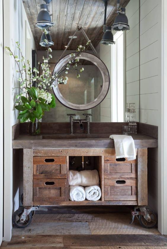mobile di bagno stile rustico