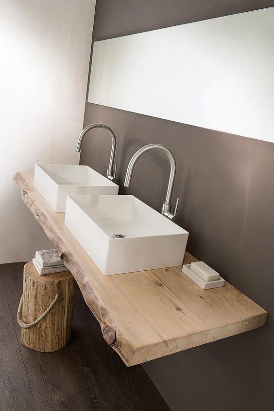 top lavabo in legno rustico