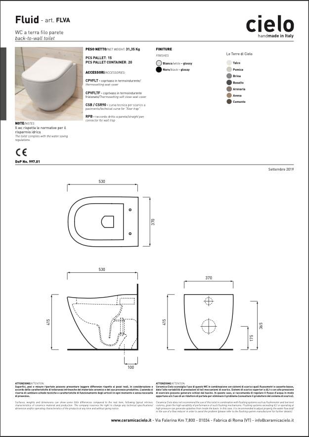 scheda tecnica wc a terra