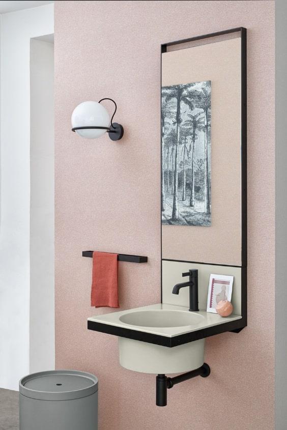 lavabo salvaspazio con specchio