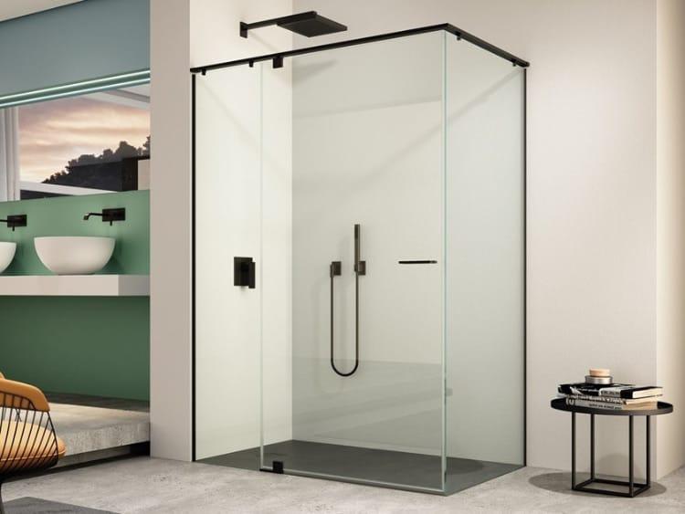 box doccia tutto vetro con profilo nero