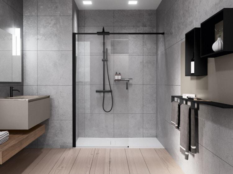bagno con doccia a pavimento walk-in