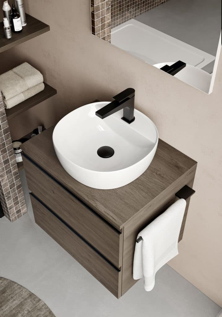 lavabo in appoggio con mobile