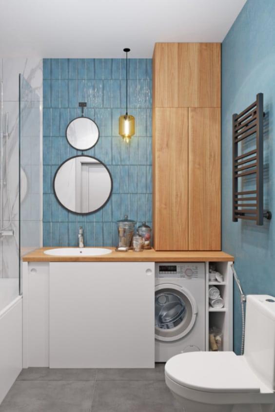 bagno con mobile lavatrice